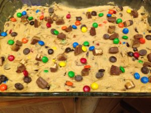 Leftover Halloween Candy Cookie Bars Pre-Bake