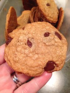 Behold, the most delicious chocolate chip cookie, ever, artfully displayed in my hand over a cheap plastic container.