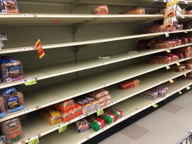 Empty Bread Shelves